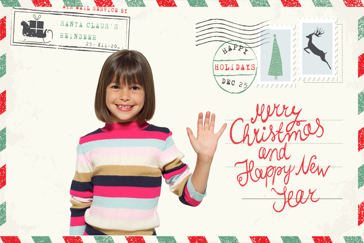Air Mail Christmas Postcard