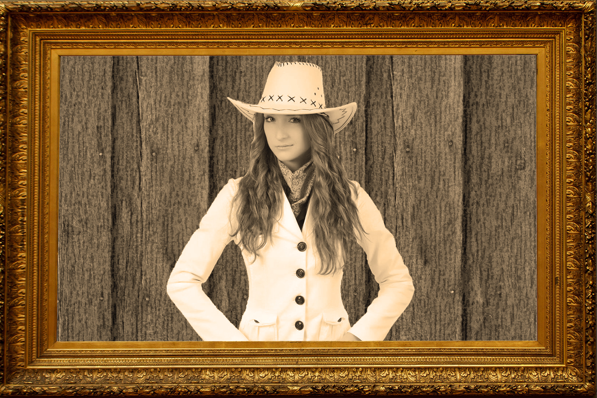 Wood Gold Frame Sepia